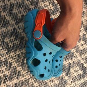 Blue & Orange Crocs Size 8